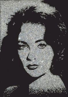 Liz Taylor made out of diamonds vik muniz