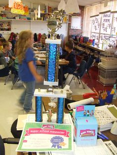 "The ""Official"" Box Tops traveling trophy for our school!"