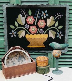 The Country Cupboard Primitive Folk Art Garden Wool Applique Penny Rug Pattern