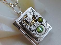 Steampunk book locket necklace with vintage watch-with green stones :)