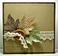vintage paper, kim dellow, old book pages, fall leaves, dellow project