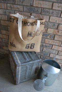 Repurposed Burlap Coffee Bean Bag Tote Large 16 by KelfDesign, $18.00
