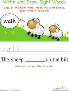 Worksheets: Write and Draw Sight Words: Walk
