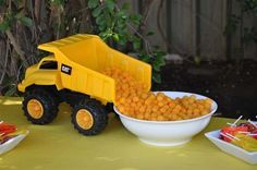 Construction birthday party food ideas...with pretzels. Also bulldozer pushing food on a tray