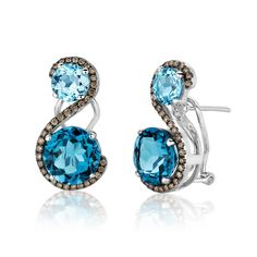 Le Vian 14k White Gold Earrings featuring Ocean Blue Topaz™and Chocolate Diamonds®.