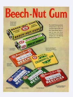 Beech-nut gum-my grandma always had the wintergreen in her purse. I found some at Cracker Barrel a few years ago.