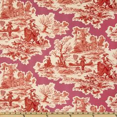 P Kaufmann Scenic Toile Twill Rouge  Item Number: UO-467  Our Price: $17.98 per Yard   Colors include red, coral rose, peachy pink and ivory on a hot pink background.