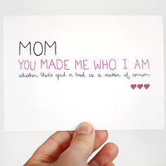 Mothers Birthday Card. Birthday Card for Mom. You Made Me Who I Am. Pink, Purple, Fuchsia.. $4.00, via Etsy.