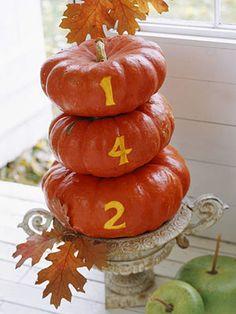 House number on pumpkins!