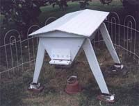 A Modified Kenyan Top Bar Hive (KTBH), the CalKenyan (Kenyan hive adapted for California).