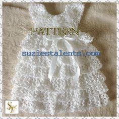 PATTERN PT060A - Crochet Christening Dress, Baby Baptism Dress, Crochet Baby Layers Dress, Baby Dress pattern, Crochet Baby Dress via Etsy