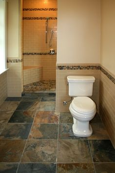Slate tile for the bathroom floor.