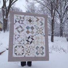 etchings quilt in the snow - pattern from in color order's half square triangle block of the month by mybricole, via Flickr