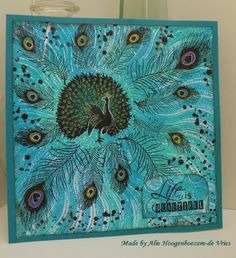 Peacock feathers are stamps from Stampinback.nl, peacock stamp from Deep Red, card made by Alie Hoogenboezem-de Vries on a Gelli Plate background