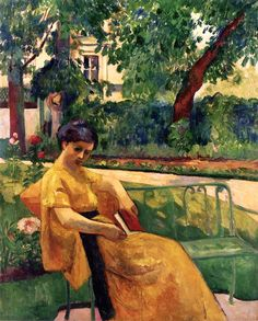Jeanne in Yellow in the Garden at Neuilly / Henri Manguin - 1910