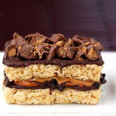 krispie treats, rees peanut, krispi treat, snack, peanut butter