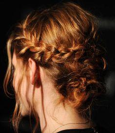 French braid and messy bun.:)