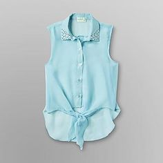 Dream Out Loud by Selena Gomez  Junior's Tied Sleeveless Shirt Angel Blue