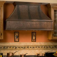 "Tuscan Series 48"" Wall Mount Solid Copper Range Hood with Riveted Bands"
