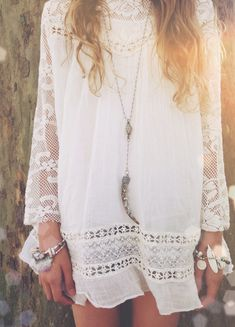 Boho chic gypsy style crochet embellished dress with long hippie necklace. FOLLOW this board > http://www.pinterest.com/happygolicky/the-best-boho-chic-fashion-bohemian-jewelry-gypsy-/ for the BEST Bohemian fashion trends for 2015.