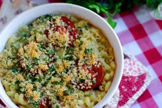 In this recipe we've used the bounty of August to create a new twist on a delicious fall comfort food – macaroni and cheese.  The creamy cheddar sauce is filled with fresh herbs and the whole thing topped with summer tomatoes and crunchy panko.
