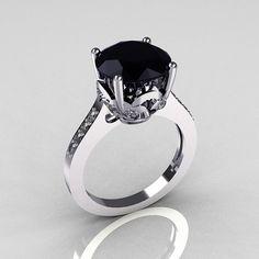 oh wow! 14K White Gold 3.5 Carat Black Diamond Wedding Ring