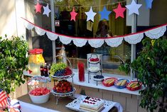 4th of July party - love the doily bunting!