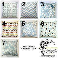 Premier Prints Village Blue Pillow Cover- 14x14 inches- Hidden Zipper Closure- You Choose. $14.95, via Etsy.