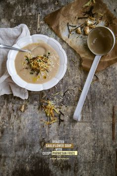 Roasted Cauliflower Soup with Crispy Parmesan Fries