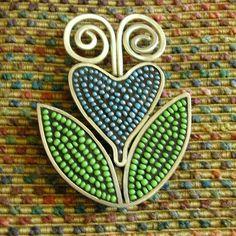 Blue Flower mosaic pin by Duffy Designs
