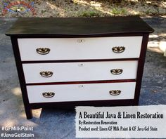 Rustoration Renovation, https://www.facebook.com/rustorationrenovation?fref=ts, created this gorgeous dresser with General Finishes Linen Milk Paint and our Java Gel Stain.We'd love to see your projects made with General Finishes products! Tag us with #GeneralFinishes or share with us through our facebook page. #gfmilkpaint #javagelstain