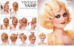 Finger wave pin curl instructions. Ignoring the scary makeup! hair design, vintage hairstyles, medium length hairstyles, long hair, patrick cameron, hair style, finger wave, cameron hair, pin curl