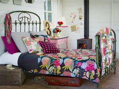 Colorful quilts and pillows #bohemian #bedroom