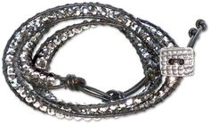 Edgy Leather and Glass Lashed Wrap Bracelet Kit available at www.rings-things.com