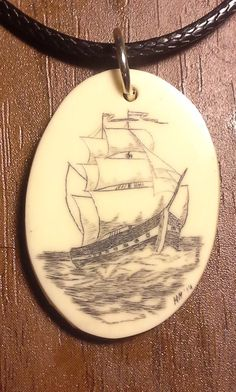 Scrimshaw Ship in Full Sail 2014-10-17