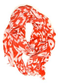 Ikat You Cat Scarf: Tomato [RO-623] - $14.99 : Spotted Moth, Chic and sweet clothing and accessories for women