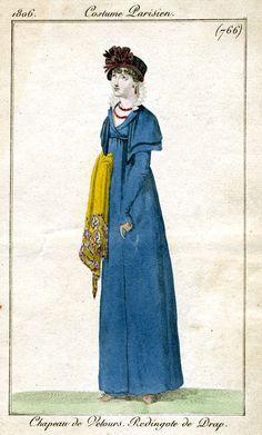 Another blue redingote de drap 1806 Costume parisien