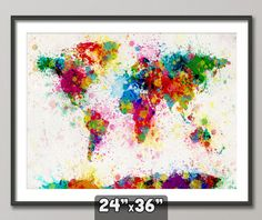 Paint Splashes Map of the World Map, Art Print