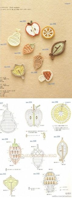 Crocheted Fruit appliqués ...diagram patterns only...
