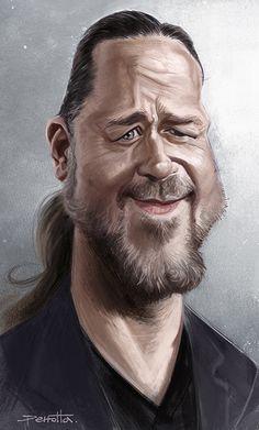 Caricatura de Russell Crowe.