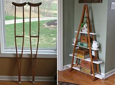 Easy Pinteresting DIY Home Decorating Ideas %u2013 Crutches BookShelf Craft Project