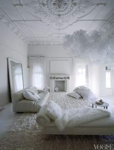 An all-white room in