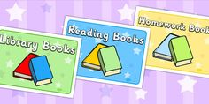 Various Books Display Signs - reading, read, books, sign, labels - twinkl