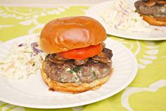 Blue Cheese & Mushroom Burgers by Joelen of What's Cookin, Chicago