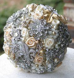 DIY Brooch Bouquet Champagne/Silver