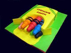great cake tutorial via Cake Central: http://cakecentral.com/a/how-to-make-a-box-of-crayons-cake#