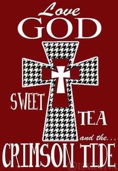 Houndstooth Cross Love God and Crimson Tide
