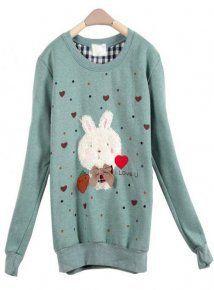 Green Rabbit Round Neck Long-sleeved Sweatshirt - Designer Shoes|Bqueenshoes.com