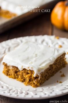 This Pumpkin Spice Sheet Cake with Cream Cheese Frosting is the BEST that you will ever make! Perfectly moist and delicious!