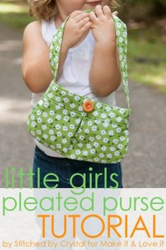 DIY Little Girl Pleated Purse...with button closure! (great for beginners) --- Made with Vintage Happy fabric:)